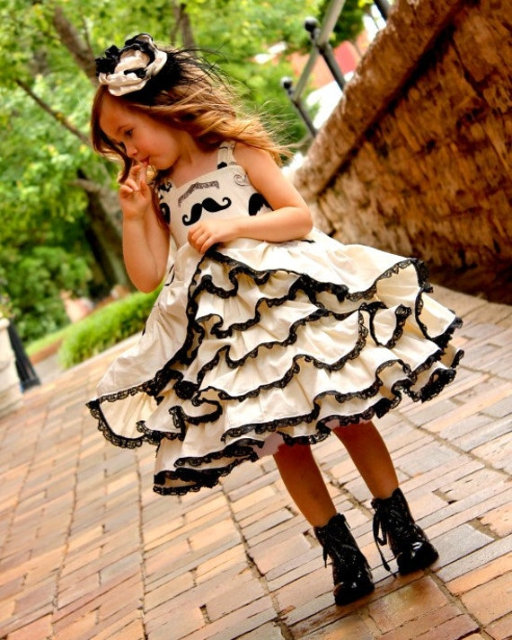 Mustache-and-Lace Ruffle Dress by Rosie Posie Gifts, #best #etsy stores for Girls; reviews by @momsshoppingengine