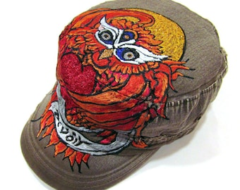 One of Kind Owl Tattoo Inspired Handpainted Unisex Hat (Hand Painted Initials or Names can be added)