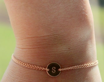 Rose gold monogram bracelet, initial bracelet, personalized, pink gold, children, mother, bridal, wedding jewelry, gift, bridesmaid