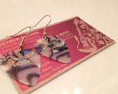 Abalone Guitar Pick Earrings on Gold Wire Hangers- Pearl Cellular