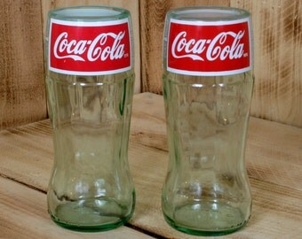 Pair of  Coca-Cola 10 ounce drinking glasses made from recycled bottles