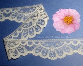 Ivory Lace Trim 10 Yards Scalloped Floral 1-1/8 inch R151 Added Items Ship No Charge