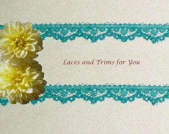 Turquoise Lace Trim 12/24 Yards Floral 3/8 inch wide Lot M54A Added Items Ship No Charge