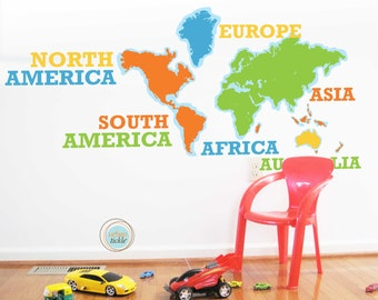 World Map Decal with Names, Continents Typography, 92 Inches X52 Inches, Nursery Decor, Baby Room, Play room ideas
