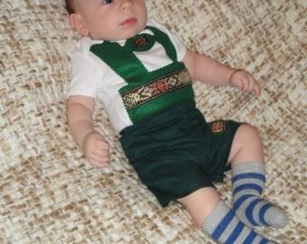 2 PIECE Oktoberfest lederhosen onesie and shorts set