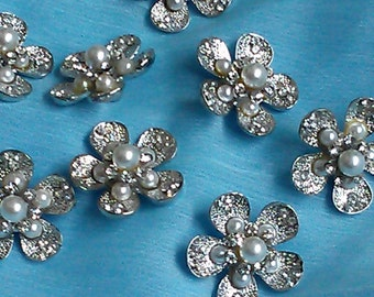 """Silver Metal Buttons with Pearl and Rhinestone , 22 mm. Flower Shaped, Flat Back.10 Pieces """"Kitty S"""""""