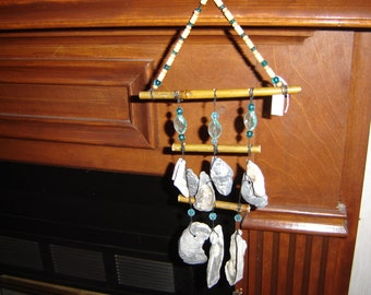 Shell and Bamboo Windchime/Windcatcher with Wood & Turquoise Acrylic Beads
