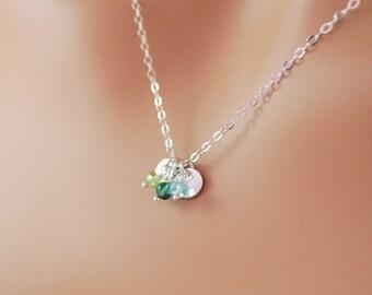 Sterling Silver Family Necklace, Dainty Discs, Custom Birthstone Jewelry, Wire Wrapped, Semiprecious Gemstone