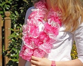 Ruffle Scarf Knit Multicolor Pink White Fashion Accessory Breast Cancer Awareness Ready to Ship
