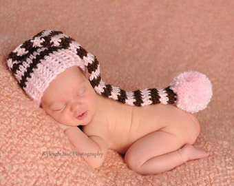 Stocking Hat, Baby Girl Stocking Hat. Girl Photo Props. Baby Pink and Brown with PomPom . Great for Birth Announcement Card Photos.