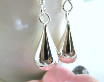 Sterling Silver Raindrop Dangle earrings - Silver Tear Drop Earrings - Sterling Silver Raindrop New Years Earrings - Dew Drops