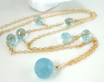 Aquamarine Swiss blue quartz gold necklace, Mother's Day gift March gemstone necklace, aqua blue quartz drop bridesmaid gold necklace