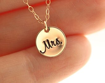 Gift for Bride, Mrs. Necklace, Bridal Shower Gift, Honeymoon Necklace, Tiny Gold Filled Disc Necklace, Hand Stamped Charm - Just Married