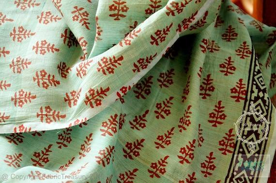 Border Print Fabric Sheer Silk Cotton Fabric For Drapery