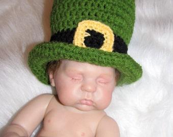 Baby BOY Leprechaun Top Hat - Newborn or 3 Months - Photo Prop - REBORN Doll - Made to Order