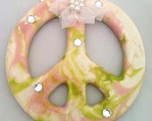 Ceramic Peace Ornament - Peace Sign -Pink White and Green - Rhinestones - Tie dye - Swirled