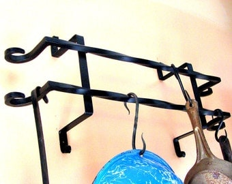 Hand Forged Iron Wall Pot Rack with Antique Security Bars (style) by VinTin