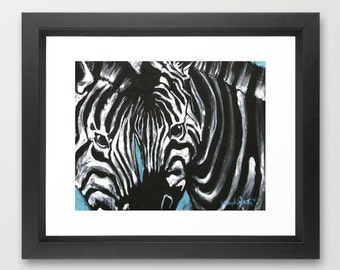 Eye of Contrast Zebra Love Original Acrylics Painting PRINT 11x14 Black, White and Teal Modern Contemporary artwork