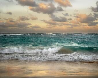 Sunrise at the Beach - Original Photograph - Caribbean Sandy Shore Ocean Beach Home Cottage Wall Decor