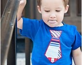 July 4th Red White Blue Tie on a royal blue Tshirt or onesie for baby, infant, toddler preschooler - babysweetness