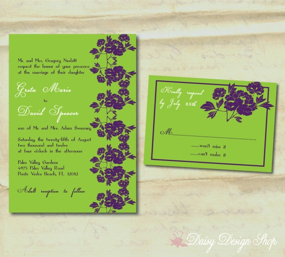 Wedding Invitation - Modern Flowers in Customizable Colors - Invitation and RSVP Card with Envelopes