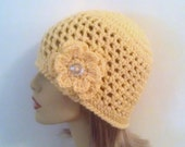 Yellow Beanie Hat, Womens Crochet Flower Hat