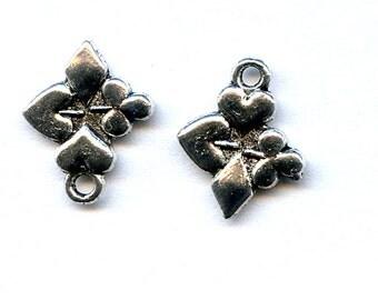 Heart, Spade, Club and Diamond Antigue Silver Charm Quantity Ten