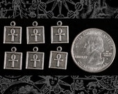 Square Silver Plated Brass Ankh Charm - Set of 6   S-C98