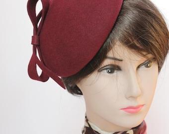 Hat-Beret-Crimson-Wool Felt