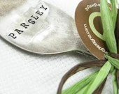 Teaspoon Garden Marker. Hand Stamped Vintage Spoon. Vintage Silverware Plant Marker. Shabby Chic Herb Marker. Upcycled