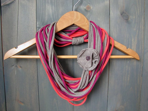 Super Soft Gray, Coral & Fuschia Jersey Infinity Scarf/Necklace