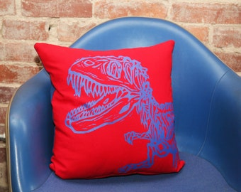 Screen Printed  Dinosaur Pillow Cover 16x16""