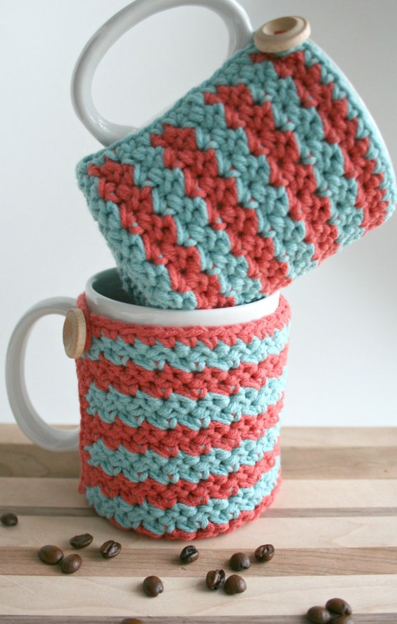 Crochet Cup Cozy - Coffee Cup Cozy - Set of 2 Red & Blue Cozies ...