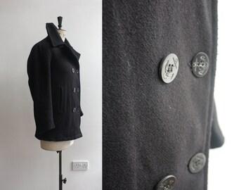 Vintage Navy Pea Coat Uniform Nautical Sailor Jacket Size M