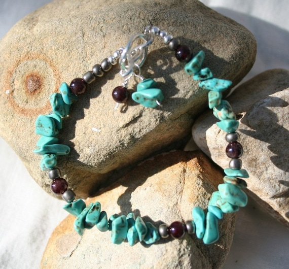 TURQUOISE BRACELET  Garnets Sterling Silver Clasp 7.5 Inches Blue Red
