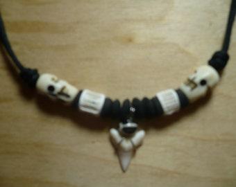 Sharks Tooth Necklace, Skulls, Vertebrate, Beading, Bones, Unusual