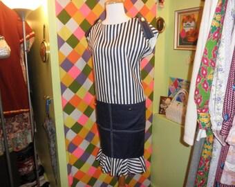 vintage 80s avant garde nautical hobble dress 1980s vertical stripe sack dress size 6