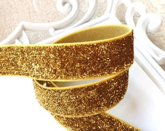 Gold Glitter Elastic 5/8 inch - Choose 1 or more yards - Baby Headbands - Hairbow Supplies, Etc.
