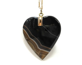 Victorian Banded Agate Large Heart Pendant Antique Black Onyx Necklace Valentine Sweetheart Gold Filled Chain