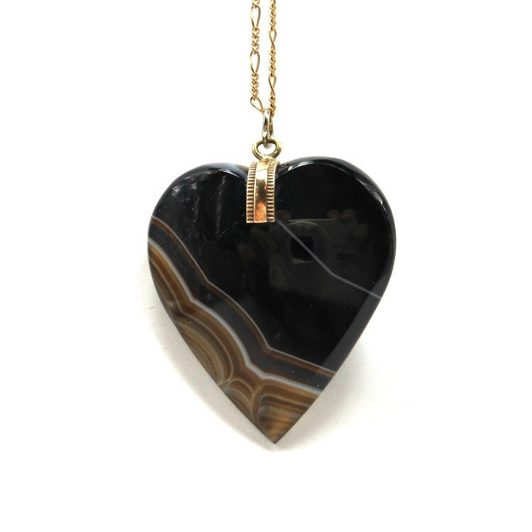 banded agate large pendant antique black onyx