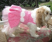 Couture Dog Harness Party Dress - Any Size - Pink Dots