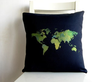 World Map 16 x 16 pillow cover