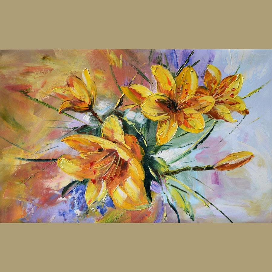 Original oil painting golden lilies 23 x 36 colorful flowers for Bright flower painting