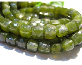 Green Garnet Beads, Micro Faceted Box Beads, 8x8mm Each, 5 Inch half Strand, 19 Pieces Approx