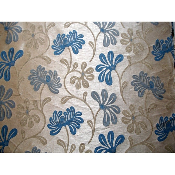 Teal And Beige Ivy Curtain Fabric Upholstery Fabric Curtain Panels ...