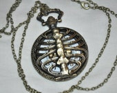 Steampunk gothic backbone ribcage chain pocket watch adjustable gold FREE SHIPPING