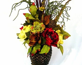 Williamsburg Old World Tuscan Centerpiece Silk Floral Arrangement footed Pineapple Urn 4 Season decor by Cabin Cove Creations