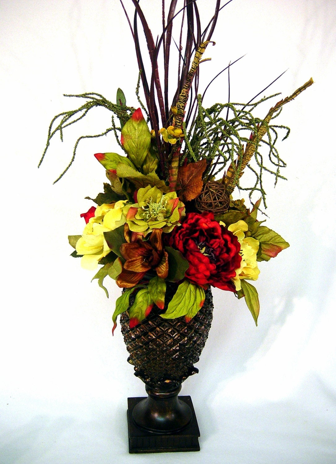 Williamsburg old world tuscan centerpiece silk floral for How to make artificial flower arrangements