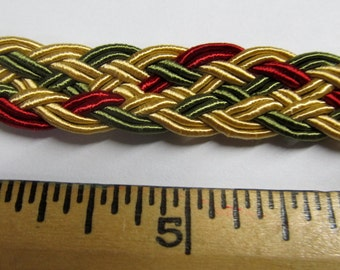 BRAIDED Flat Trim WOVEN 1/2 inch /gold/green/red