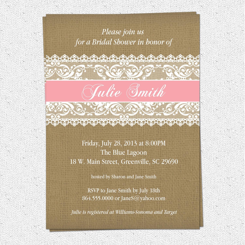 rustic bridal shower invitation burlap lace chalkboard